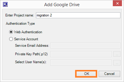 For adding Google Drive as a destination