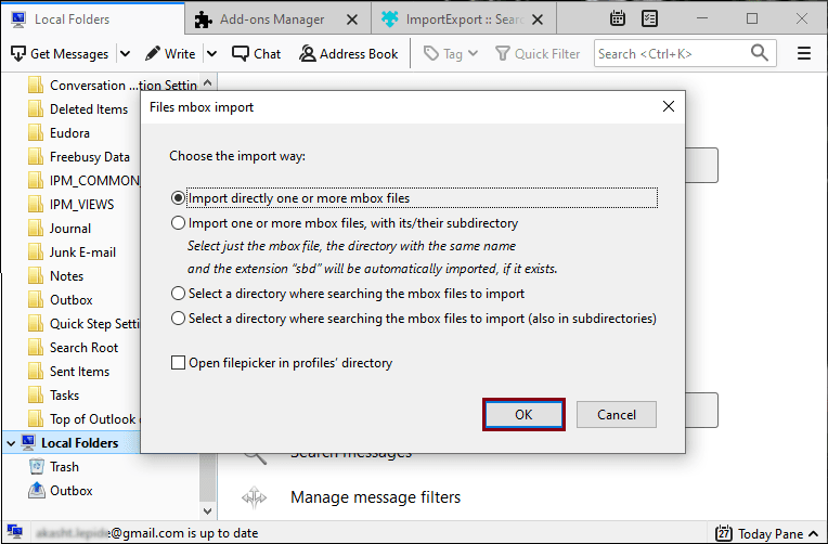 Import directly one or more mbox files