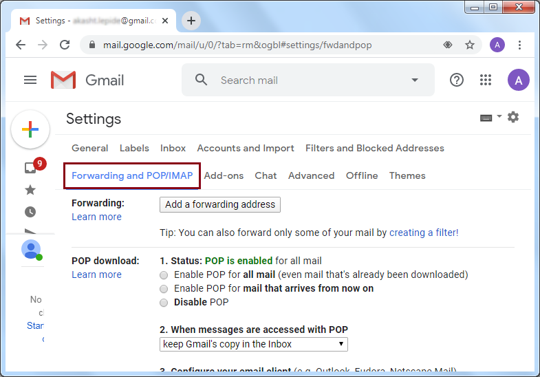 click on Forwarding and POP/IMAP