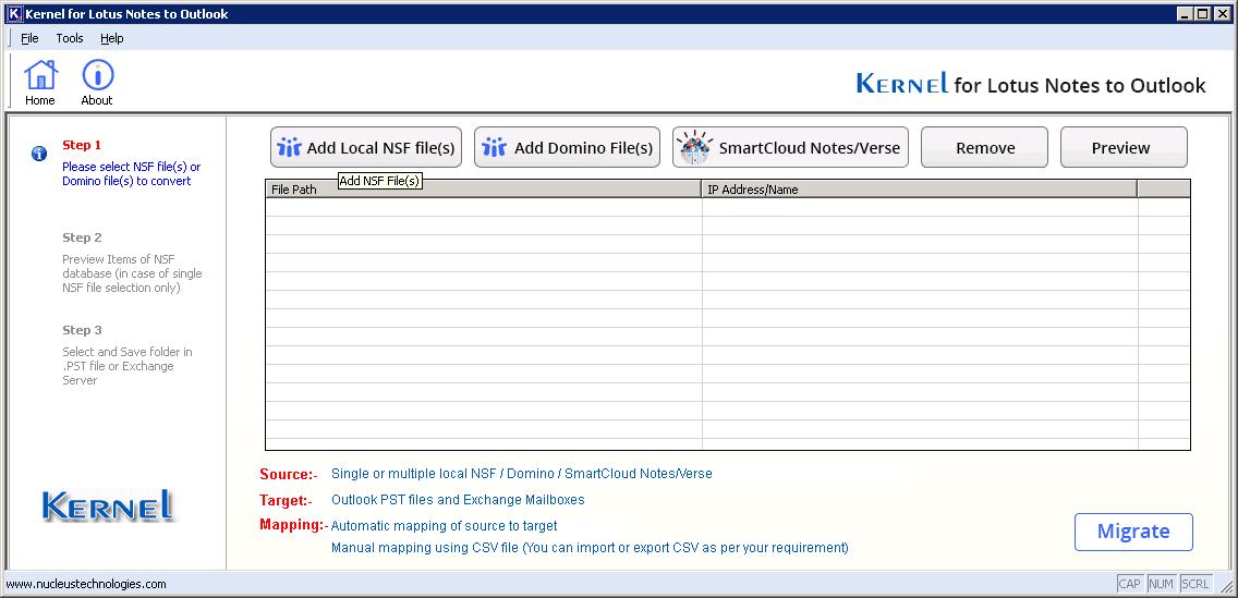 Click the button 'Add Local NSF File(s)