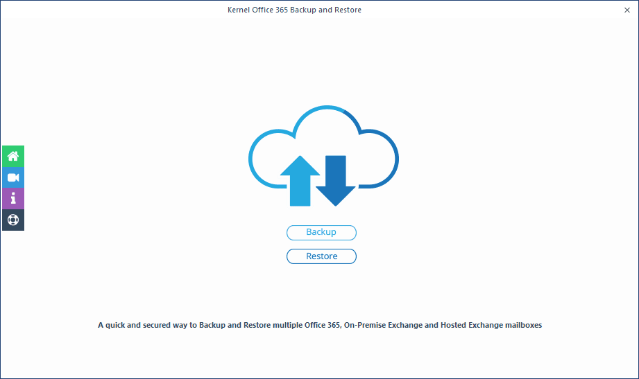 Launching Office 365 backup & restore tool
