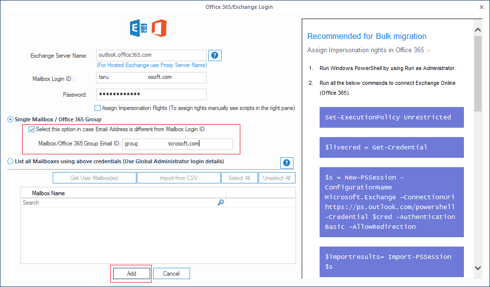 Enter the details for Office 365 account