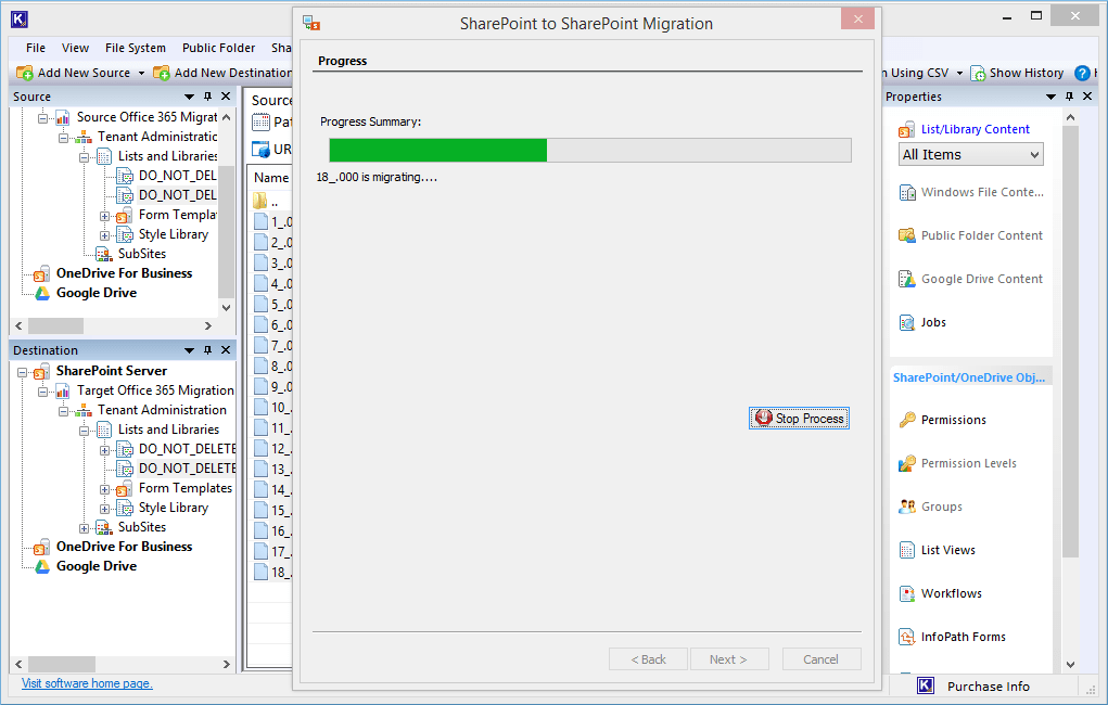 click the Stop-Process button and stop the migration