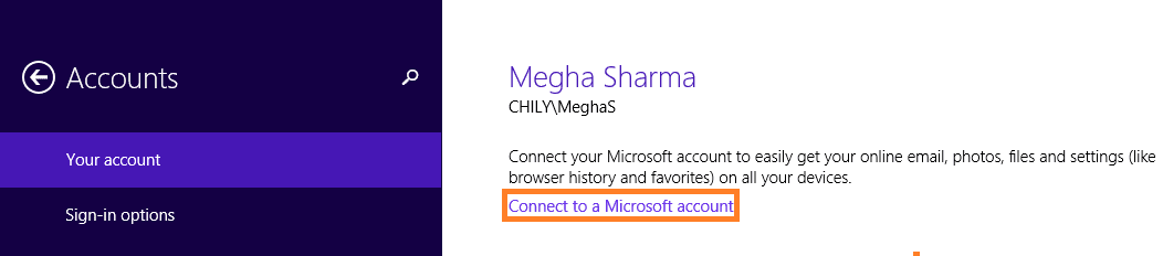 Click on the Connect to a Microsoft account option