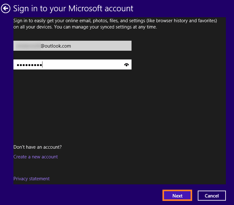 Add your Microsoft account login credentials and click on Next