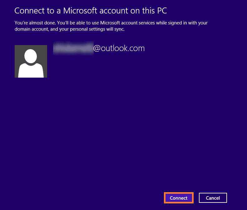 Click Connect to connect your Microsoft account