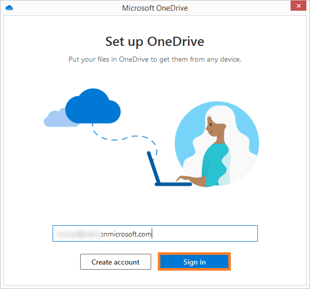 Enter email address of OneDrive for Business
