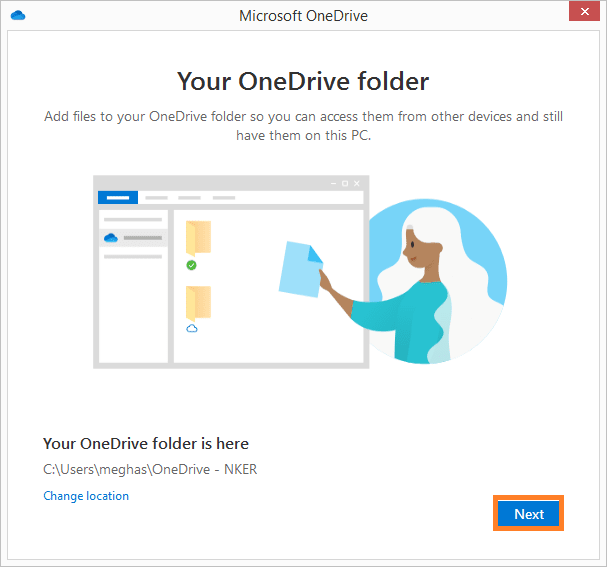 location of your synchronized OneDrive folder