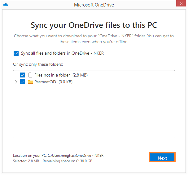 Select files and folders for synchronization