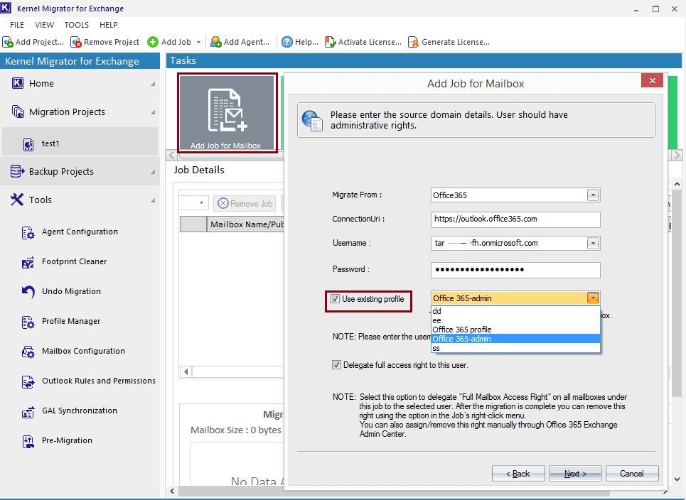 add Office 365 as a source or destination using an existing Outlook profile
