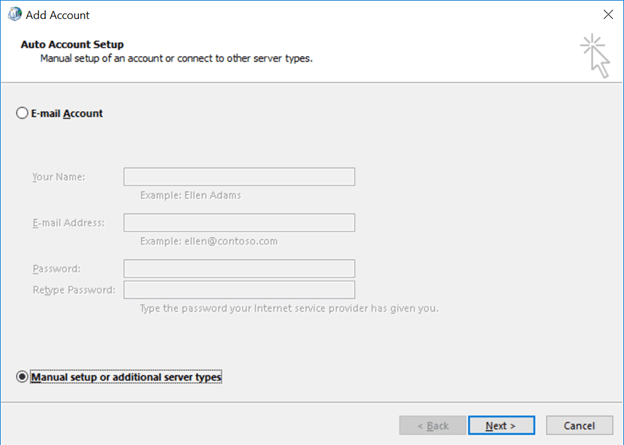 Select Manual setup or additional server types option and click Next
