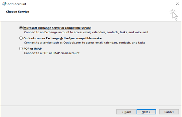 Now select Microsoft Exchange Server or compatible service and click Next
