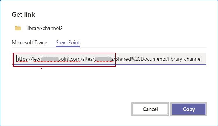 go to the SharePoint tab and copy the site URL