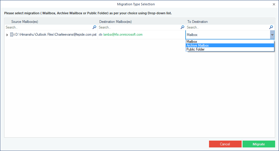 Select Archive Mailbox Migrate