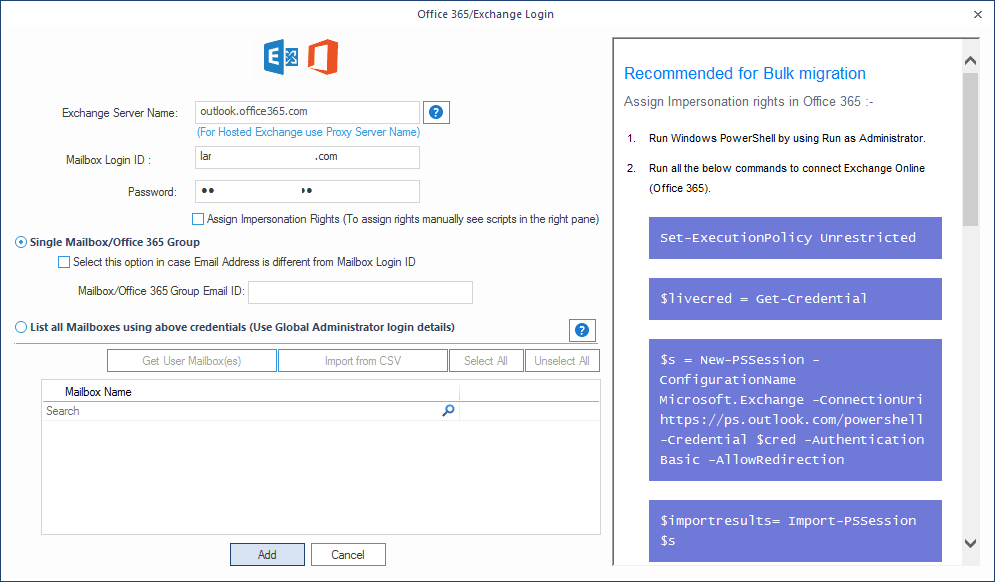 Enter the details for Office 365