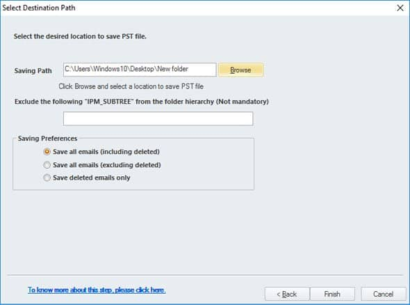 choose the file destination and save the PST file