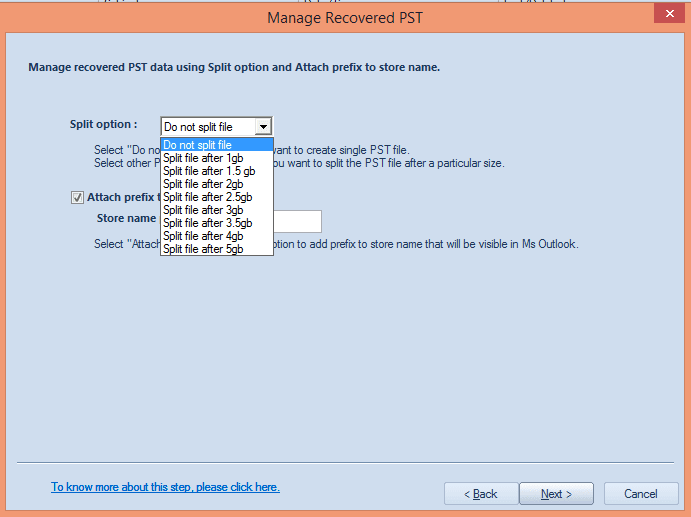 save the mailbox items to multiple PST files