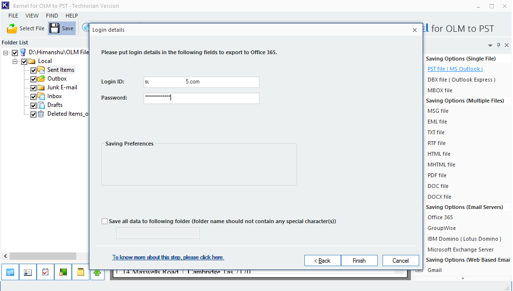 Enter Office 365 credentials