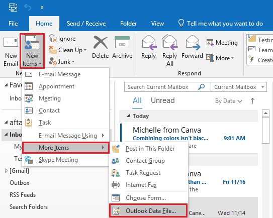follow New Items>>More Items>>Outlook Data File