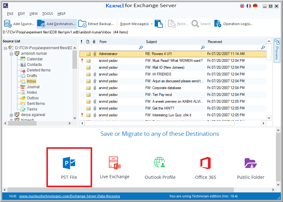 select PST file option as destination to save the converted EDB file