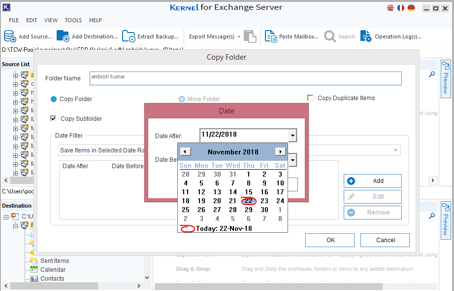 Click OK to finish the export process