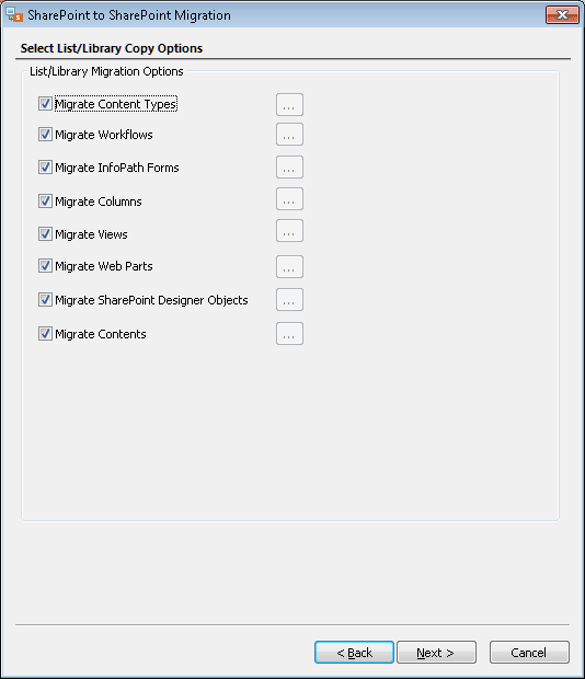 """Select the desired copy options for list/libraries. And click """"Next"""