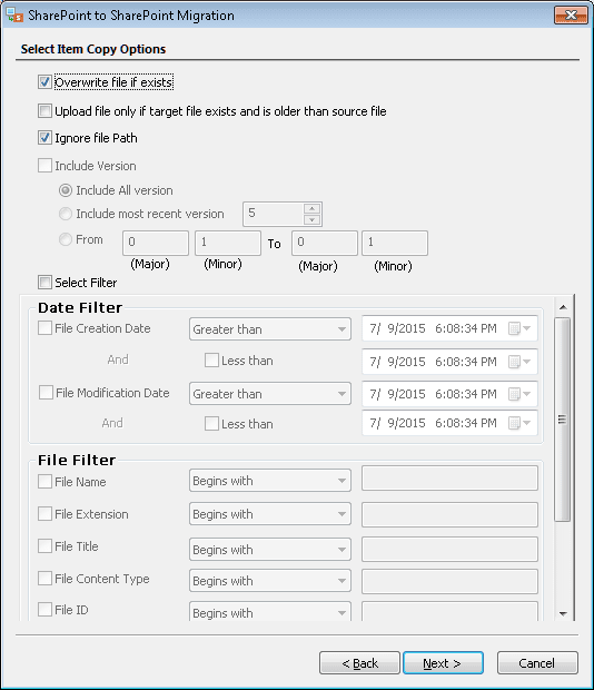"""Apply the filters that you want to use for the migration and click """"Next"""