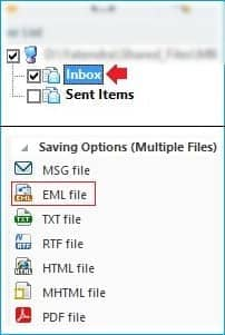 Select EML file format as a destination