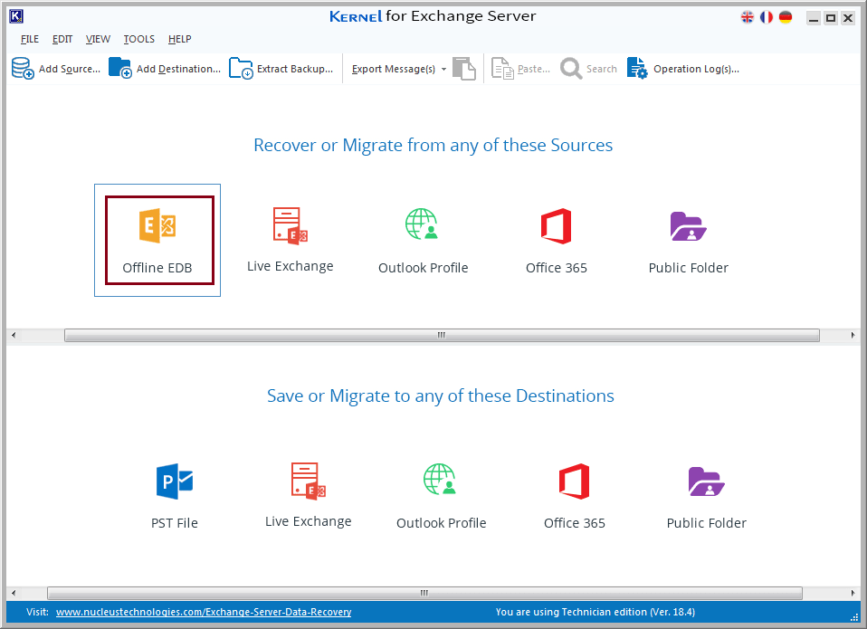 select the option Offline EDB file