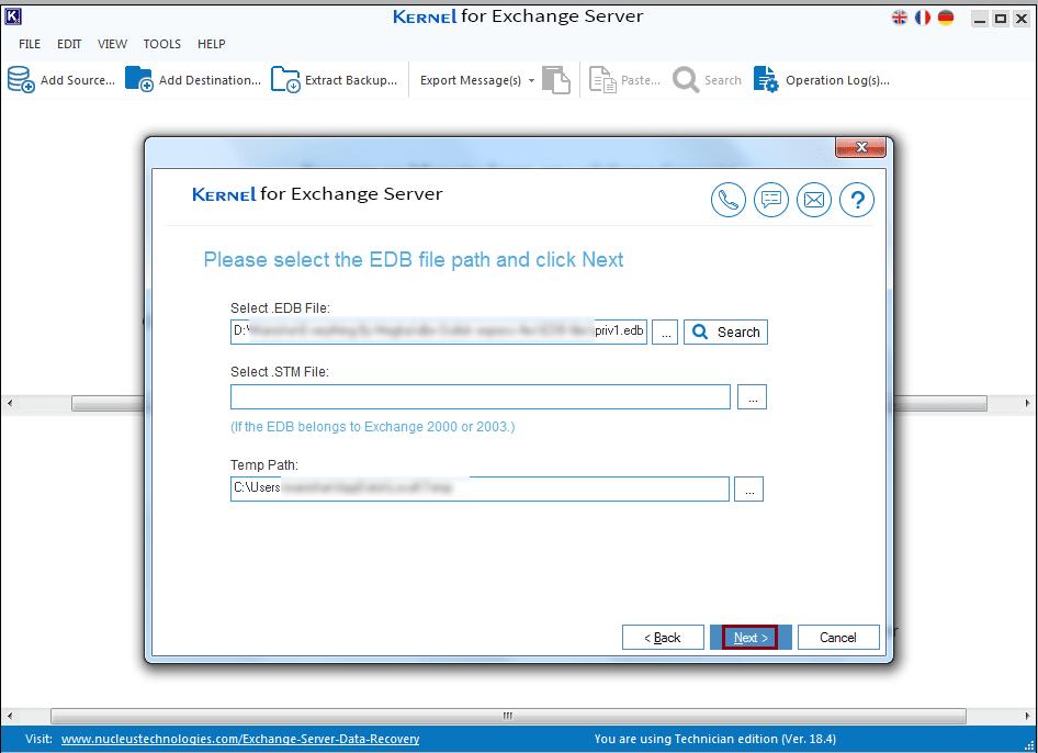 please select the EDB file path and click Next