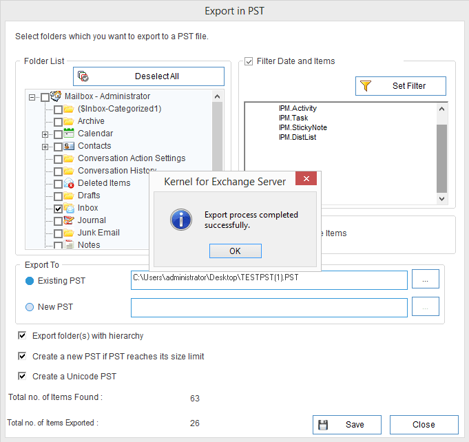 selected data to the specified destination