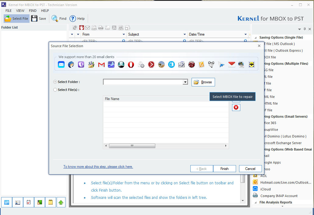 Start the software to add MBOX file