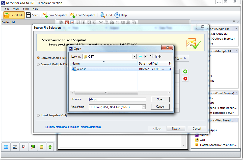 Select the desired OST file and click on Open