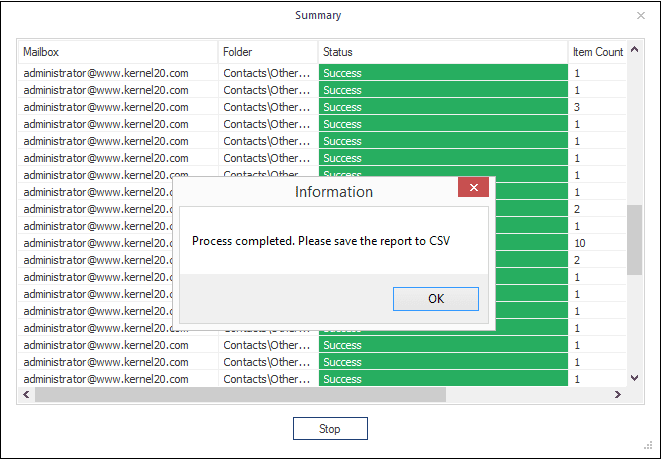 save the migration process details in report in CSV format