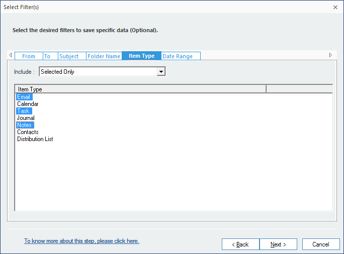 select the desired filters to save specific data