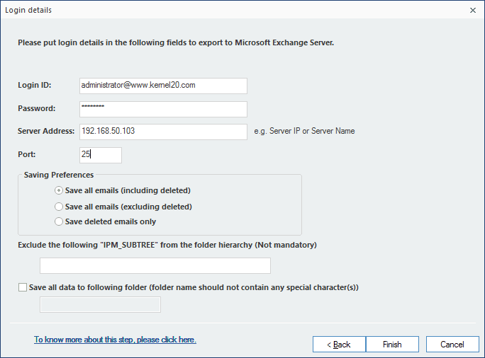 please put login details and click Finish