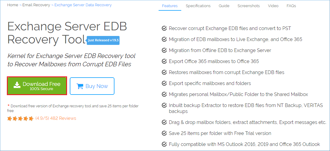 Exchange Server recovery software page