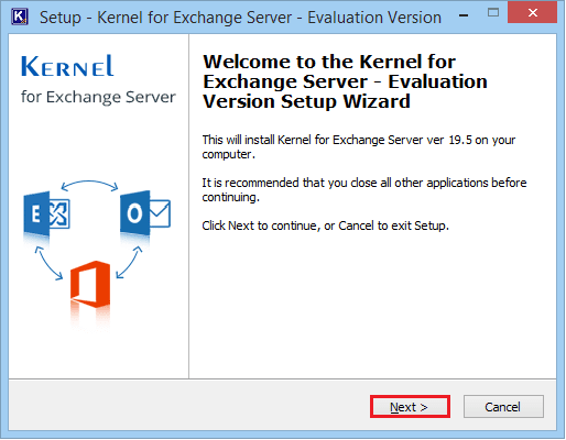 Install Exchange Server Recovery software