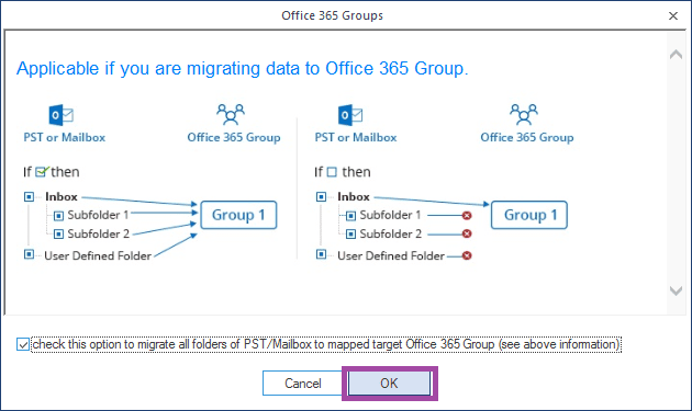 select the checkbox to migrate folders and click OK