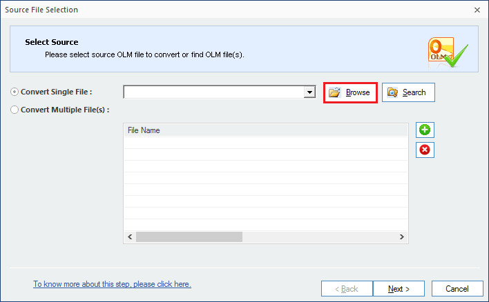 Run OLM to PST converter software