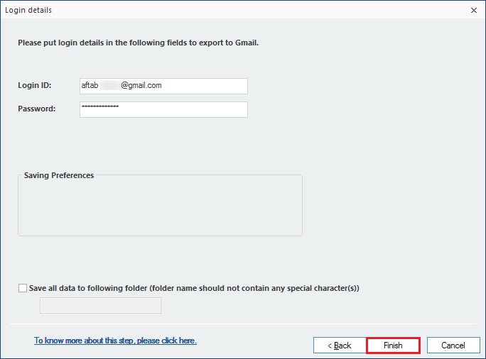 Input the login credentials of your Gmail account