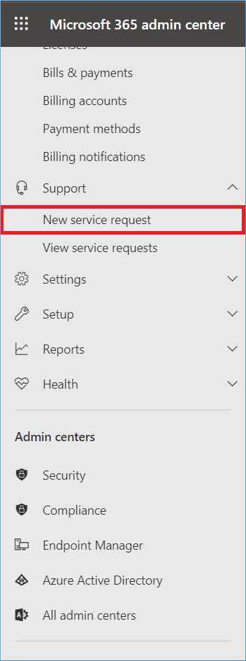 Go to Support and click New Service Request